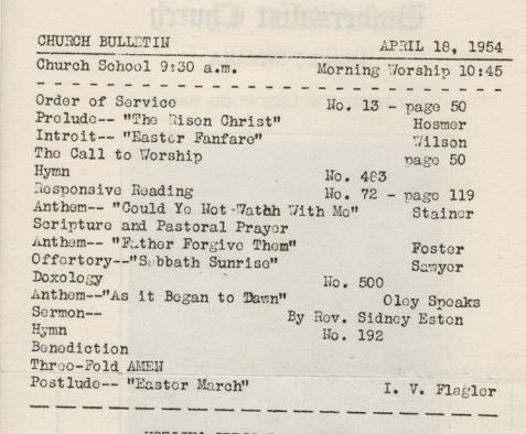April 18, 1954 service
