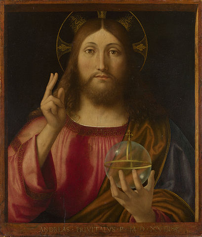 Christ with clear orb and hasd-gesture of blessing